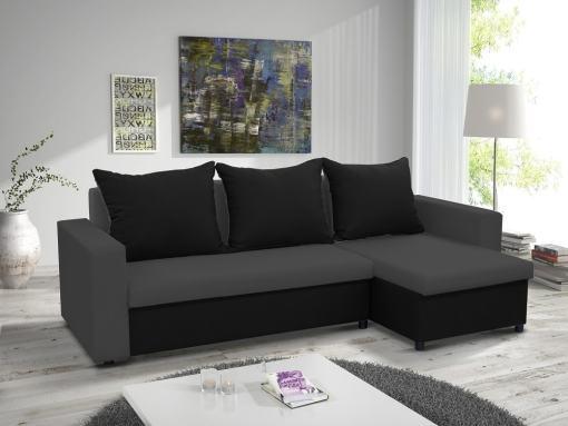 Sofá chaise longue cama con arcón. Chaise longue lado derecho. Color gris y negro - Turin