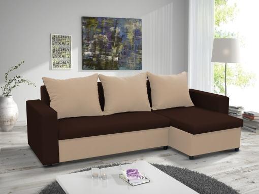 Раскладной диван-кровать с двумя ящиками для хранения - Turin. Угол справа. Коричневая и бежевая ткани