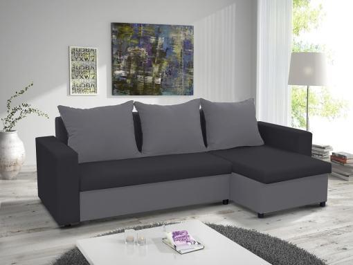 Раскладной диван-кровать с двумя ящиками для хранения - Turin. Угол справа. Светло-серая и тёмно-серая ткани