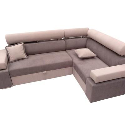 Sofá rinconera cama con arcón - Genoa. Esquina derecha, color gris