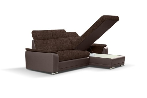 Storage Under the Chaise. Fabric and Faux Leather Chaise Longue Sofa with Pull-out Bed – Vancouver