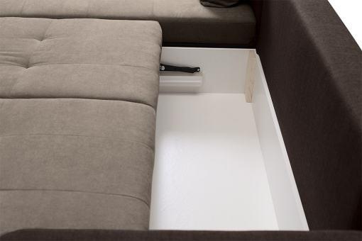 Arcón debajo de los asientos. Sofá chaise longue cama reversible - Quebec