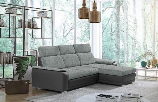Sofá chaise longue reversible con cama - Vancouver. Color gris claro (Tela Inari 91, polipiel Soft 29). Chaise longue lado derecho