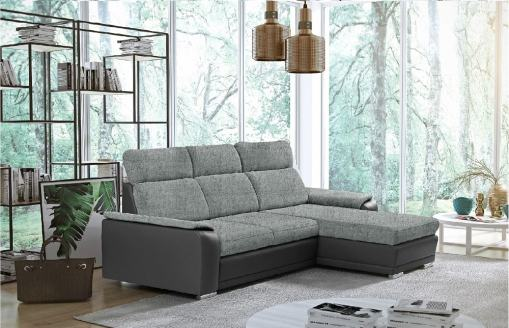Light Grey Fabric and Grey Faux Leather Chaise Longue Sofa with Pull-out Bed – Vancouver. Right Corner