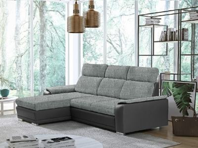 Light Grey Fabric and Grey Faux Leather Chaise Longue Sofa with Pull-out Bed – Vancouver. Left Corner