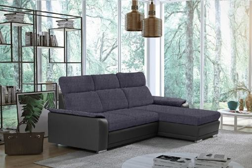 Sofá chaise longue reversible con cama - Vancouver. Tela gris oscuro (Inari 91), polipiel gris (Soft 29). Chaise longue lado derecho