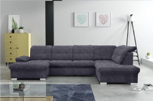 Sofá en forma de U con reposacabezas reclinables - Toronto. Color gris oscuro. Tela Inari 94. Esquina lado derecho