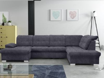 U-shaped Sofa with Pull-out Bed and Reclining Headrests - Toronto. Right corner, dark grey fabric (Inari 94)