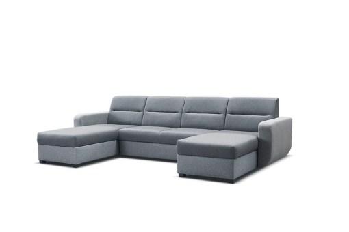 Tapizado en tela de color gris. Sofá cama en U con dos arcones - Ottawa