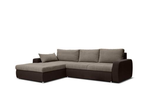 Tapizado en tela de color marrón. Sofá chaise longue cama reversible - Quebec