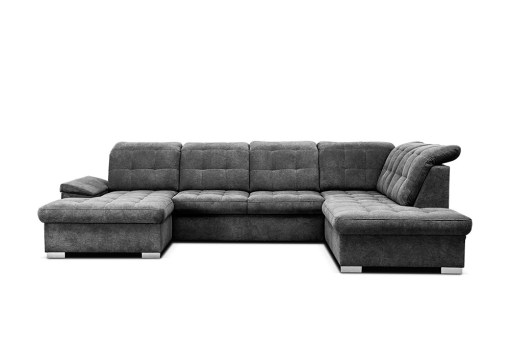 Grey Fabric. U-shaped Sofa with Pull-out Bed and Reclining Headrests - Toronto
