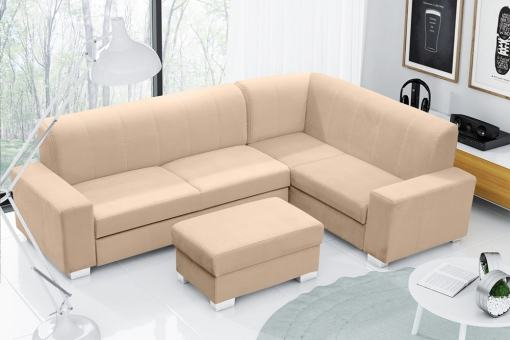 Corner Sofa Bed (4 Seater) with Pouffe. Beige Colour. Right Corner - Sardinia