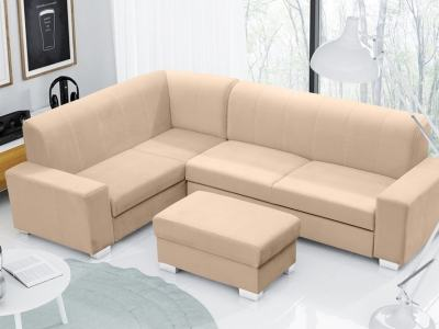 Corner Sofa Bed (4 Seater) with Pouffe. Beige Colour. Left Corner - Sardinia