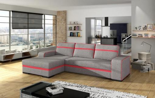 Угловой диван-кровать с отделением для хранения - Bermuda. Светло-серая ткань с красными линиями. Левый угол