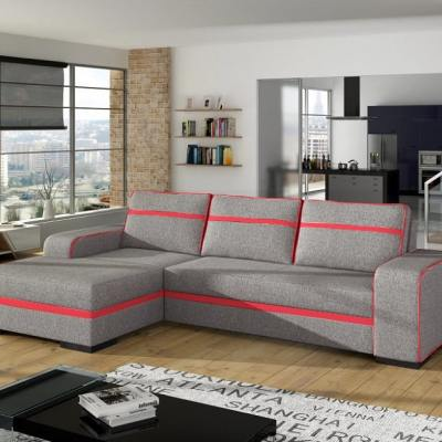 Chaise Longue Sofa Bed with Storage - Bermuda. Light Grey Fabric, Left Corner