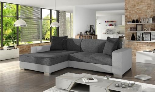 Chaise Longue Sofa Bed with Storage - Maldives. Grey and Light Grey Fabrics. Left Corner