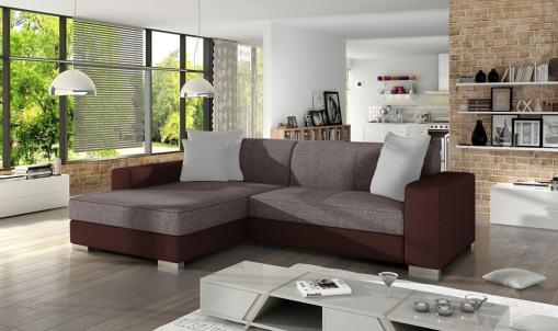 Sofá chaise longue cama (izquierda). Tapizado en tela marrón claro y polipiel marrón oscuro - Maldives