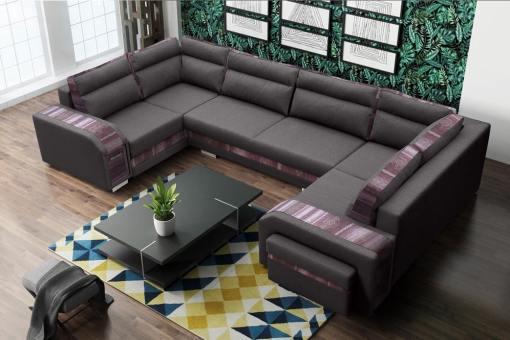 Sofá grande en forma de U (2 esquinas) - Baia. Grey color, ornamento étnico. Esquina derecha