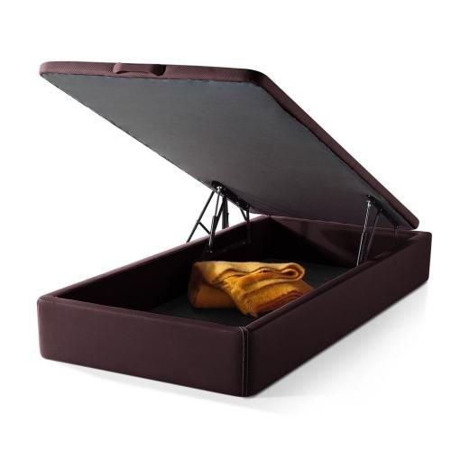 Canapé abatible 105 x 190 cm. Color marrón (chololate). Tapizado en polipiel - Basel