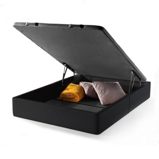Canapé abatible 135 x 190 cm (doble). Color negro. Tapizado en polipiel - Basel
