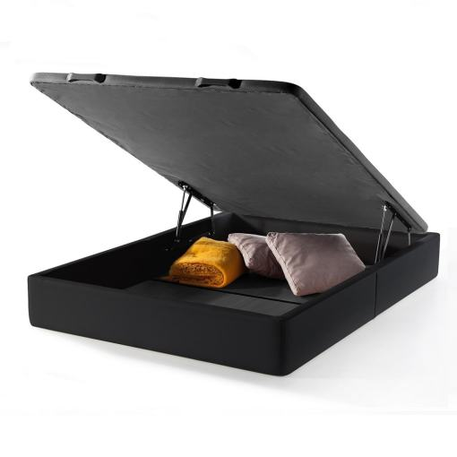 Double Wide Lift-Up Storage Bed 150 x 190 cm. Upholstered in Black Faux Leather. Basel