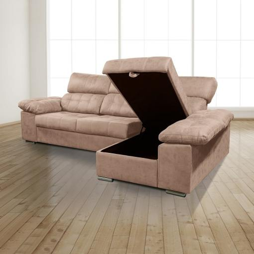 """Storage Opened. Chaise Longue Sofa with Storage, Sliding Seats and Reclining Headrests - Granada. Brown Colour (""""Piedra""""), Right Corner"""