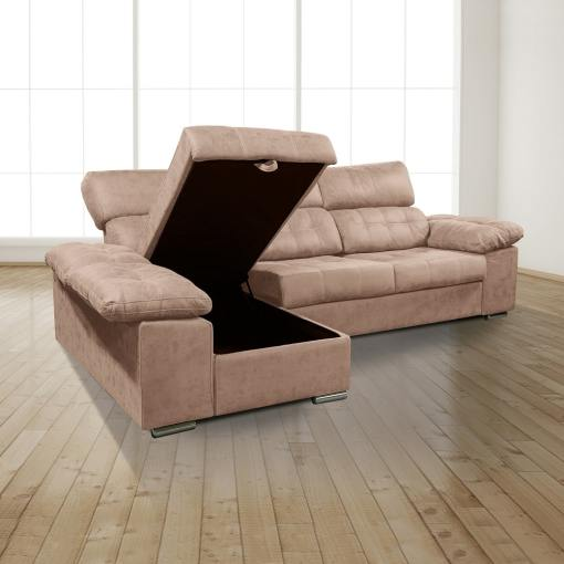 """Storage Opened. Chaise Longue Sofa with Storage, Sliding Seats and Reclining Headrests - Granada. Brown Colour (""""Piedra""""), Left Corner"""