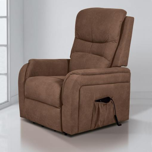 Electric Power Lifting and Reclining Armchair - Caudete. Brown Fabric