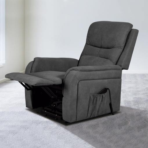 Elevating Footrest and Reclining Backrest. Power Lifting and Reclining Armchair - Caudete. Grey Fabric