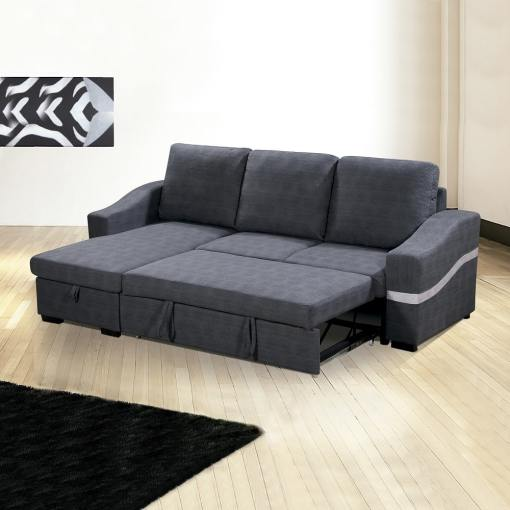 Converted Into Bed. Convertible Chaise Longue Sofa Bed with Storage - Santander. Grey Fabric, Left Corner