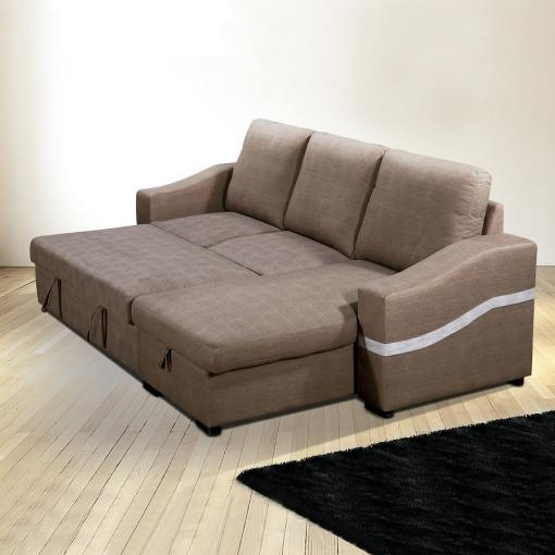 "Converted Into Bed. Convertible Chaise Longue Sofa Bed with Storage - Santander. Brown (""Chocolate"") Fabric, Right Corner"