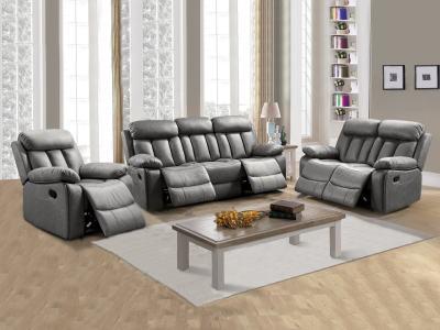 Conjunto 3+2+1 de dos sofás y un sillón relax. Tela antimancha gris - Barcelona