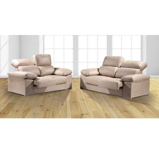 Beige Fabric. Sofa Set 3+2 With Sliding Seats and Reclining Backrests - Toledo