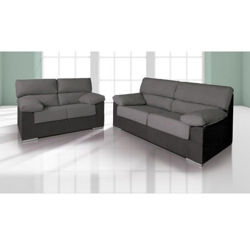 Conjunto de sofás 3+2 en tela microfibra Amur. Color gris (marengo) y negro - Salamanca