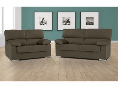 Conjunto de sofás 3+2 en tela microfibra Melissa. Color marrón (trufa) -Salamanca