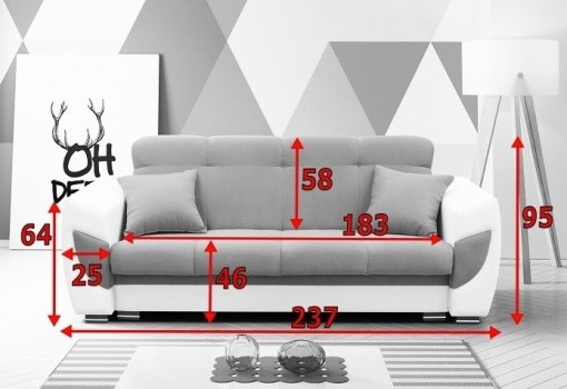 Dimensions of Sofa Bed Upholstered in Fabric and Synthetic Leather - Tarancón