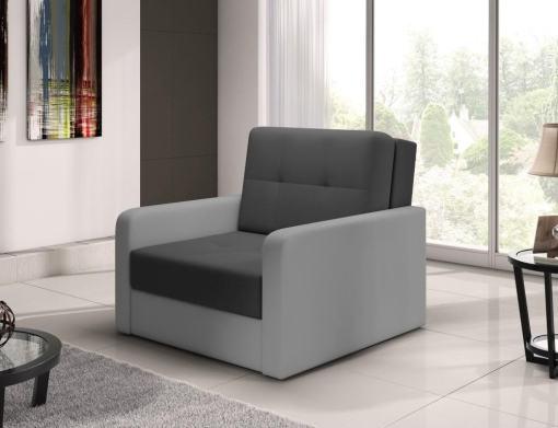 Sillón cama individual (1 plaza) - Almansa. Asiento gris oscuro, brazos gris claro. N8