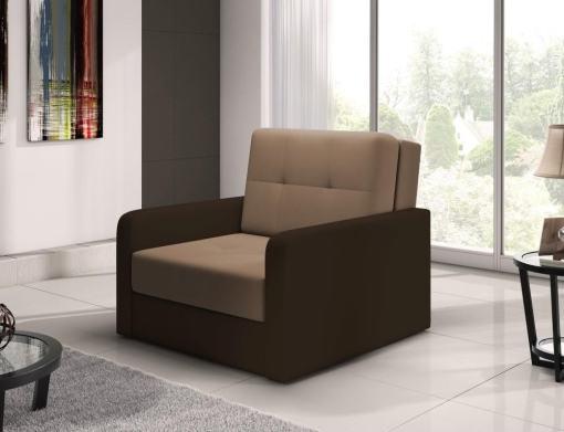 Sillón cama individual (1 plaza) - Almansa. Asiento marrón claro, brazos marrón oscuro. N10
