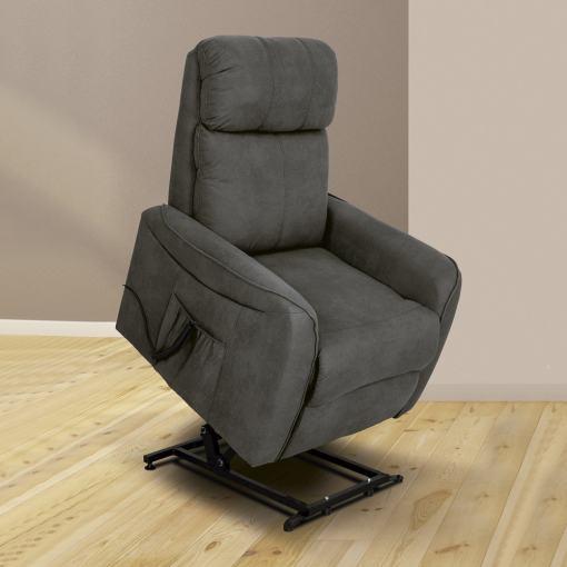 Sillón eléctrico relax reclinable levantapersonas. Tela gris - Cieza