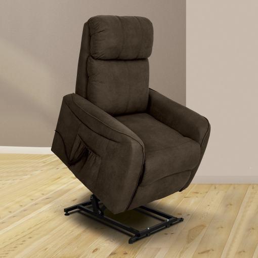 Recliner Power Lift Armchair – Cieza. Brown Fabric
