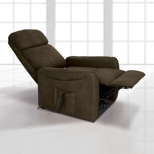 Sillón relax eléctrico con reposapiés elevable y respaldo reclinable. Color marrón (chocolate) - Cieza