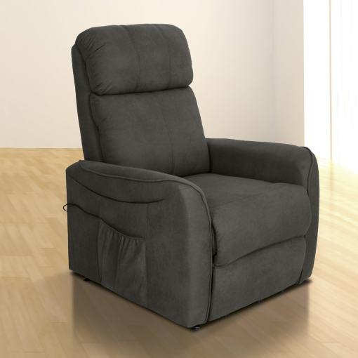 Sillón relax eléctrico reclinable. Tela microfibra gris - Cieza