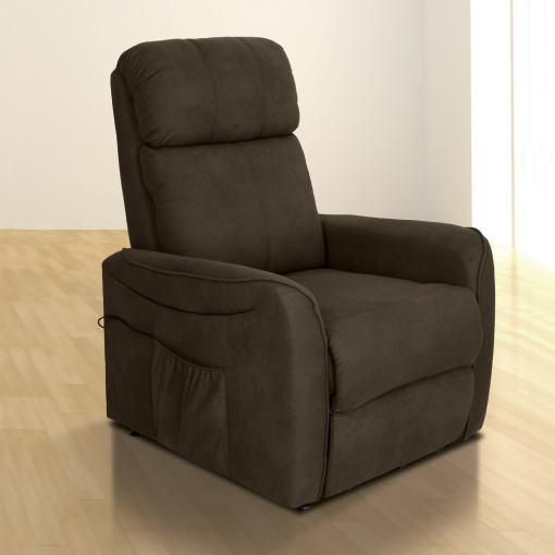 Sillón relax eléctrico reclinable. Tela microfibra marrón (chocolate) - Cieza