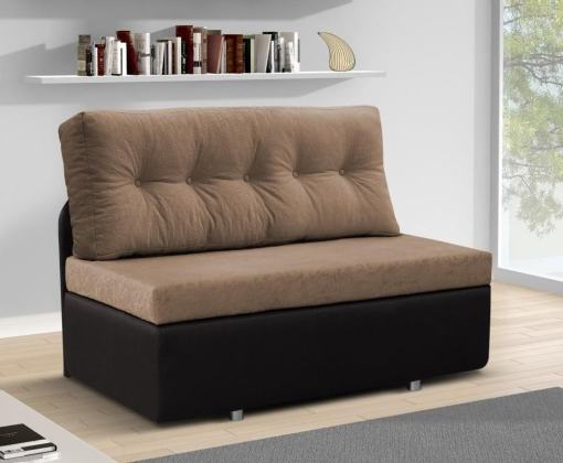 Sofá 2 plazas sin brazos cama - Requena. Asiento, respaldo - tela marrón claro. Base - tela marrón oscuro
