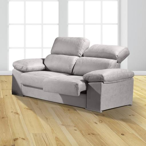 """3 Seater Sofa with Sliding Seats and Reclining Backrests - Toledo. Light Grey Colour (""""Cemento"""")"""