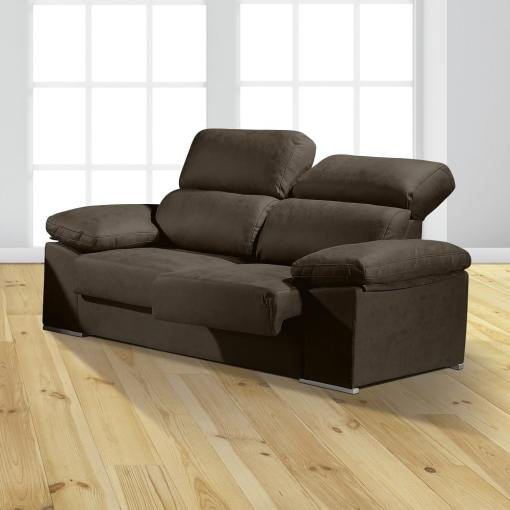 """3 Seater Sofa with Sliding Seats and Reclining Backrests - Toledo. Dark Grey Colour (""""Plomo"""")"""