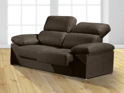 Sofá 3 plazas con asientos deslizantes y respaldos reclinables - Toledo. Color gris oscuro (plomo)