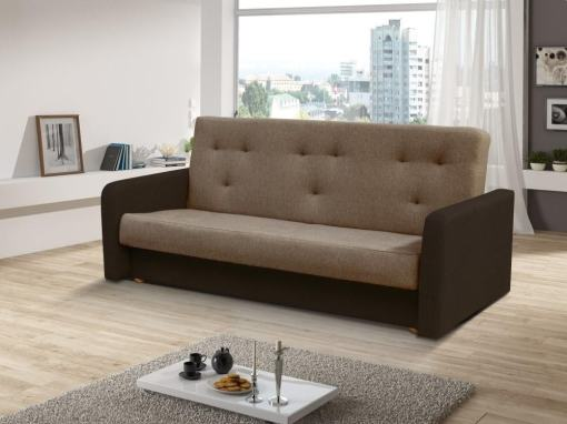 Click Clack Sofa Bed with Narrow Armrests - Jumilia. Seat and Backrest in Light Brown Fabric, Armrests and Base in Dark Brown Fabric