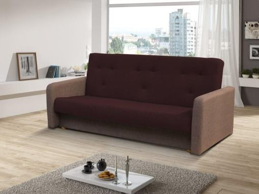 Click Clack Sofa Bed with Narrow Armrests - Jumilia. Seat and Backrest in Dark Brown Fabric, Armrests and Base in Light Brown Fabric