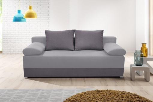 Sofa Bed with Side Cushions (Armrests) - Lorca. Seat and Armrests in Light Grey, Base and Backrest Cushions in Dark Grey
